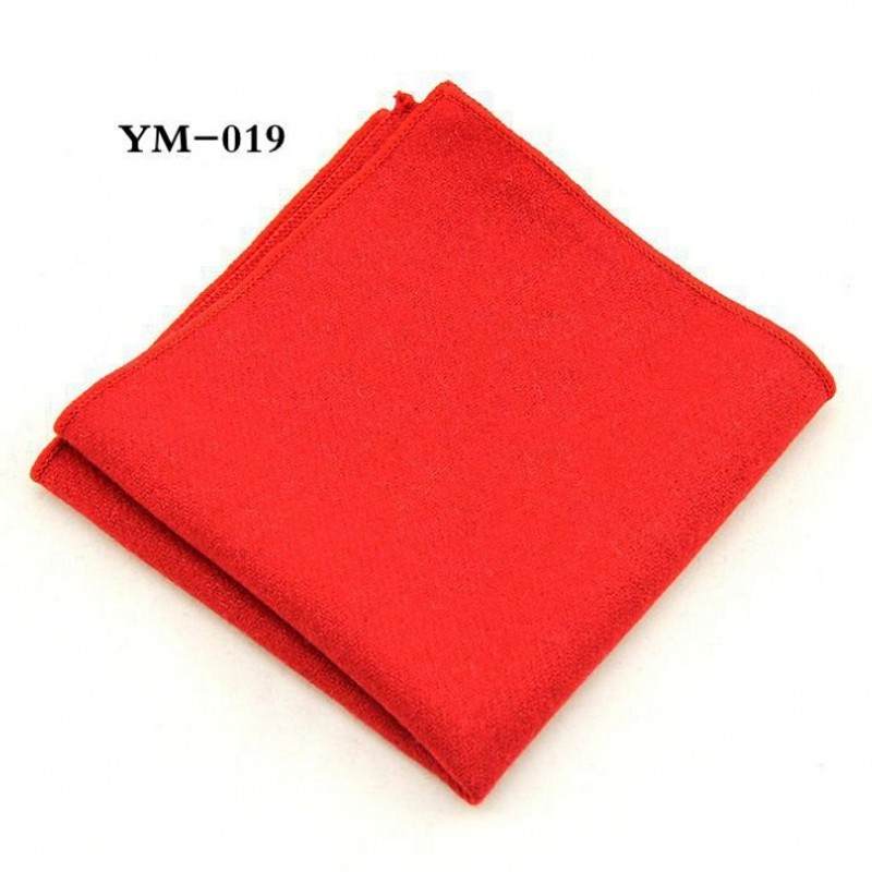 Ikepeibao Classic Red New Men's Pocket Square Solid Orange Purple Handkerchiefs Wool Hankies 23*23cm