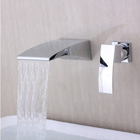 Contemporary Wall-mounted Waterfall Chrome Finish Curve Spout Bathroom Faucet free shipping polished chrome finish new wall mounted waterfall bathroom bathtub handheld shower tap mixer faucet yt 5333