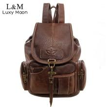 Винтажные женские рюкзак для девочек-подростков Школьные ранцы Мода Большой Рюкзаки Высокое качество искусственная кожа черная сумка коричневая новая XA658H