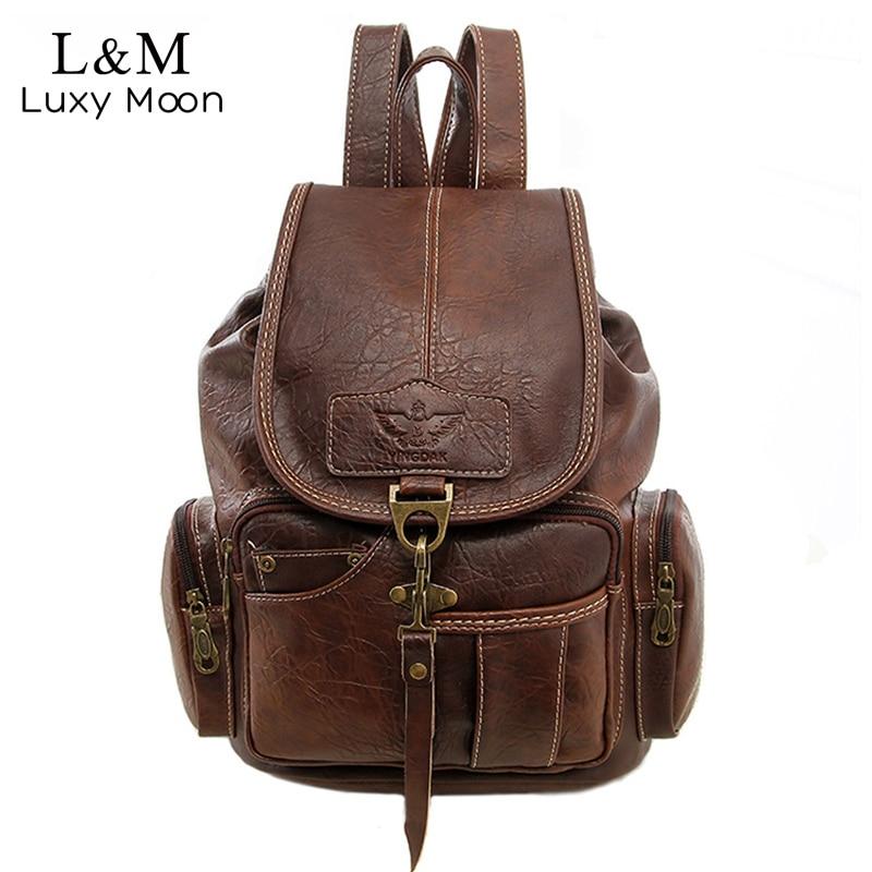 Women Backpack Vintage Backpacks for Teenage Girls Fashion Large School Bags  High Quality PU Leather Black 620e674e89ba3