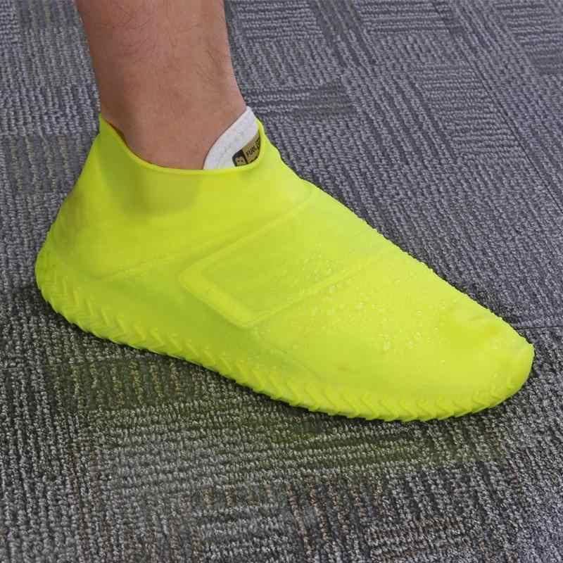 Geri dönüşümlü Su Geçirmez Silikon Galoş ayakkabı koruyucu Kaymaz Kadın Erkek yağmur çizmeleri Kadın Yağmurlu Bir Gün için Esneklik Ayakkabı Koruyucuları