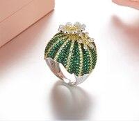 Роскошные Дизайнерские Серебряный цветок кактуса уникальный дизайн моды S925 стерлингового серебра ААА кубический цирконий зеленый цвет Ра