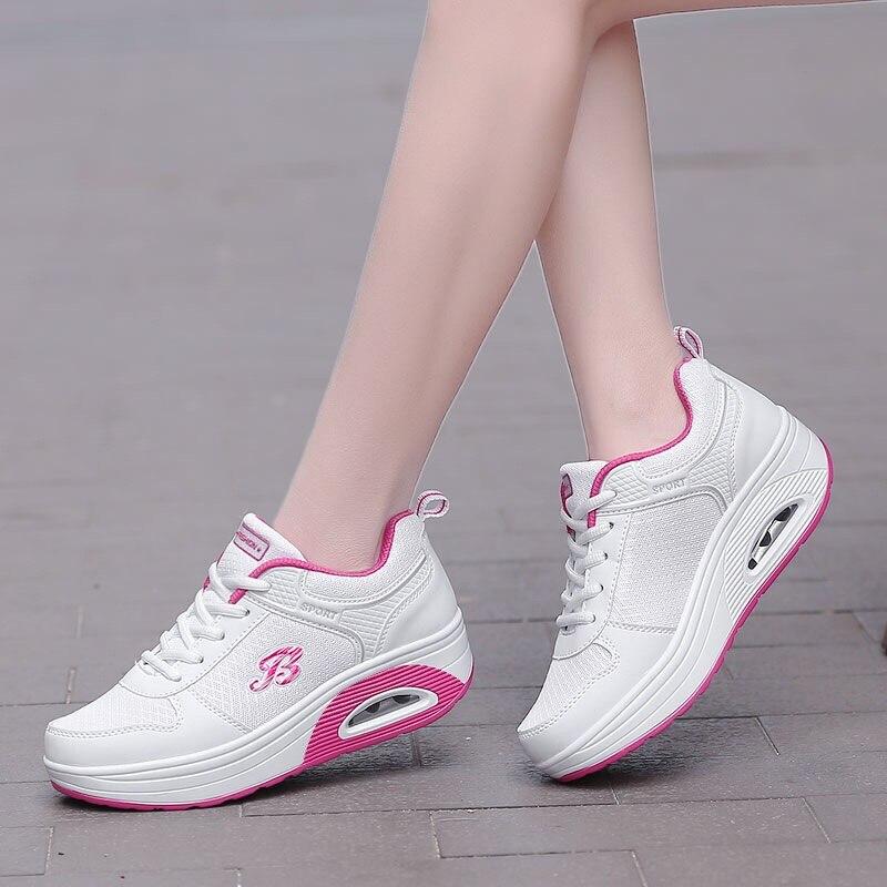 0f017df197f0 D'air white Mode Chaussures Antidérapants Femmes Décontracté Augmenter  Respirant pink Lacet Black Red 7 De Sneakers rose ...