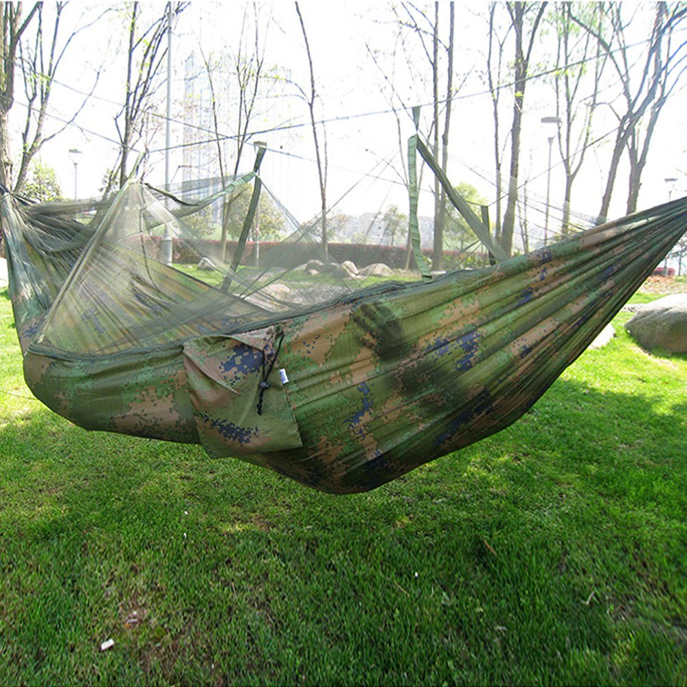 Portable Indoor Outdoor Hammock For Backpacking Camping Hanging Bed With  Mosquito Net Sleeping Hammock