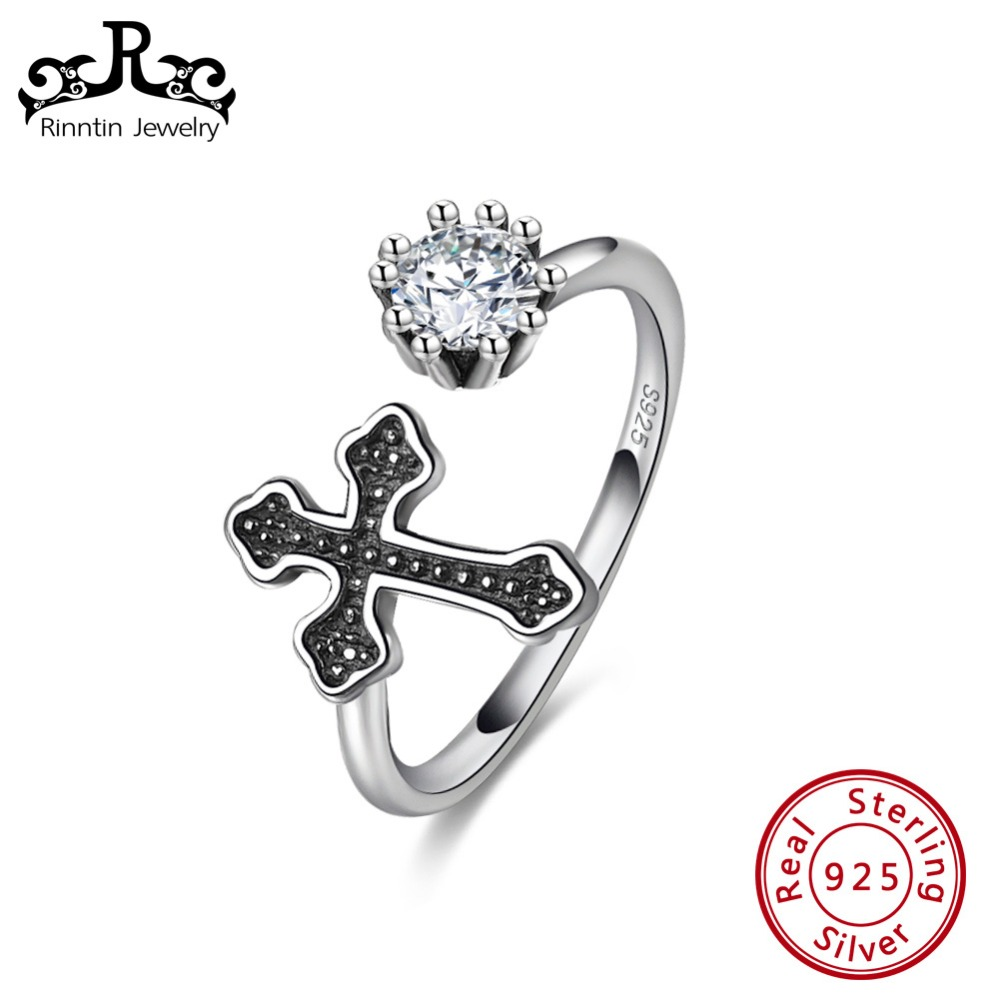 Rinntin 925 Sterling Silver Retro Black Color Cross Women Rings With Clear Zircon Christian Jewelry Accessories Gift TSR130Rinntin 925 Sterling Silver Retro Black Color Cross Women Rings With Clear Zircon Christian Jewelry Accessories Gift TSR130