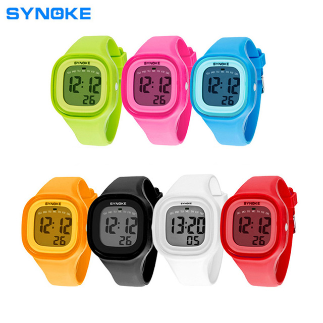 Synoke New Brand Waterproof Kids Watch Fashion Sports LED Digital-watch Geneva Silicone Jelly Children Digital Watches for Women