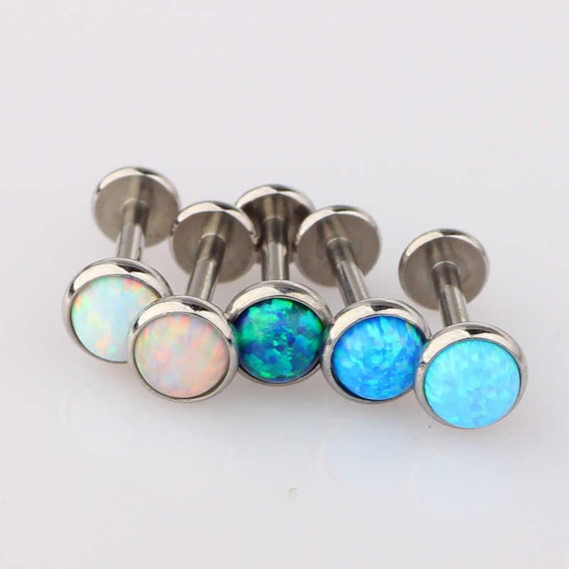 Fanpeijy 16 gam Trong Nội Bộ Chủ Đề Opal Đá Không Gỉ Hàng Đầu Labret Monroe Vành Bar Helix Bông Tai Lip Piercing Studs Sụn 1 cái