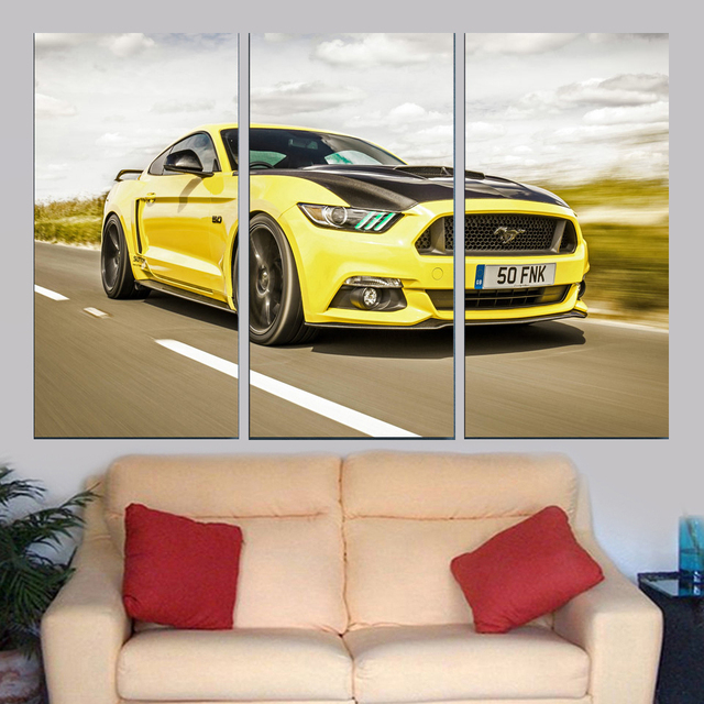 Fashion Canvas Wall Art Framework Pictures Home Decor Modern 3 Pieces Sports Yellow Cool Car Paintings HD Prints Vintage Poster