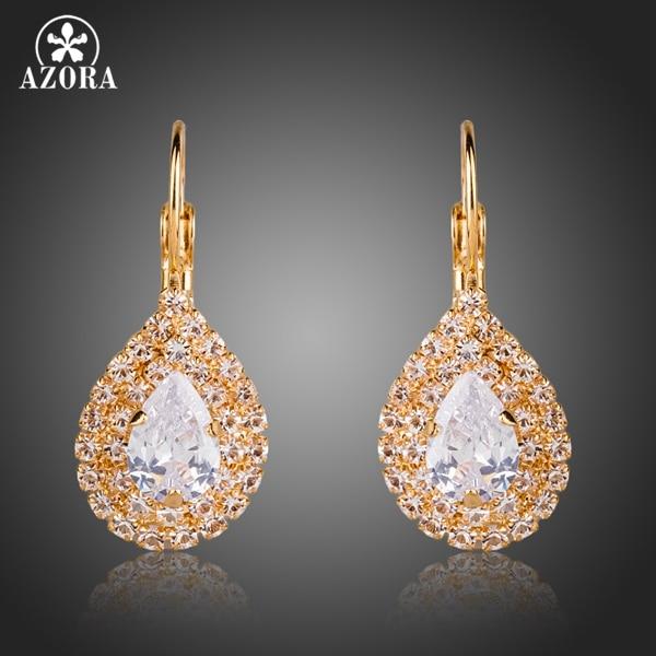 AZORA Shiny Gold Color Clear Cubic Zirconia Tear Drop Earrings TE0150