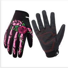 Winter Cycling Gloves Skull Bone Touch Screen Bike Gloves Sport Shockproof MTB Road Full Finger Printing Bicycle Glove For Men недорого