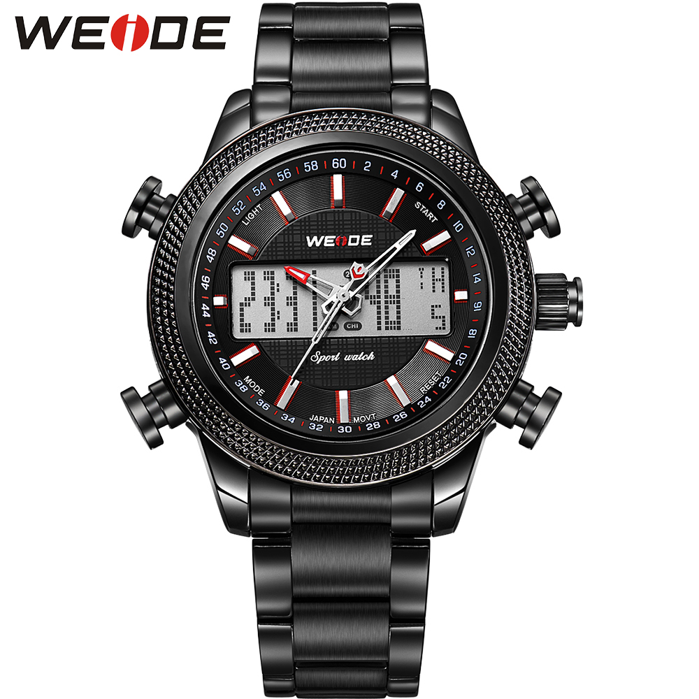 ФОТО WEIDE Mens Watches Top Luxury Brand Analog Digital Display High Quality Stainless Steel 3ATM Waterproof Running relogio Tag Hour