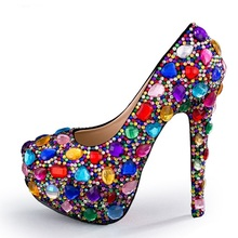 2019 Newest High Heel Pumps Crystal Embellished Platform Shoes Woman Rainbow Wedding Heels Sexy Rhinestones Heels Shoes newst high heel shoes sky blue velvet ankle strap woman dress shoes crystal embellished wedding heels thick heels pumps