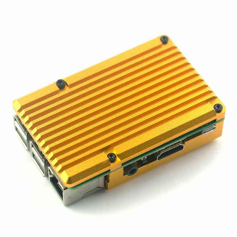 لراسبيري بي 3 موديل B + حافظة ألومنيوم مع مروحة تبريد مزدوجة غلاف معدني ذهبي لراسبيري بي 3 موديل B