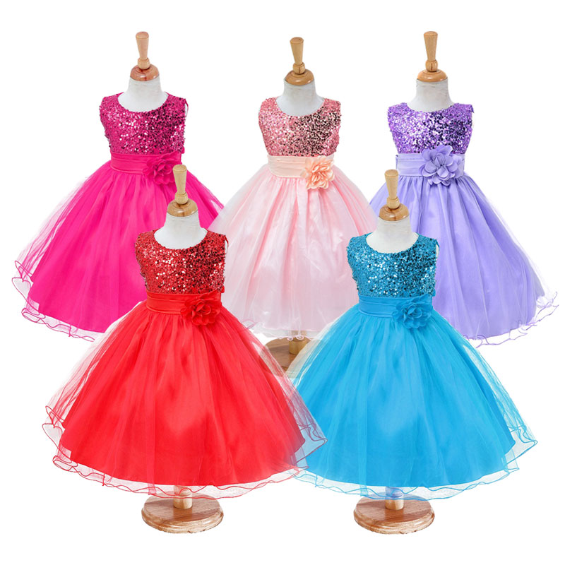3-14yrs-Hot-Selling-Baby-Girls-Flower-sequins-Dress-High-quality-Party-Princess-Dress-Children-kids-clothes-9colors-4