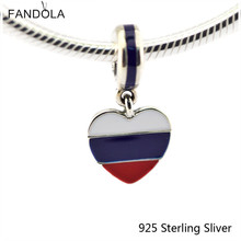 925 Sterling Silver DIY Charm Russia Heart Flag Dangle, white, blue and red Enamel for Jewelry Making Heart Pendant Silver Bead(China)