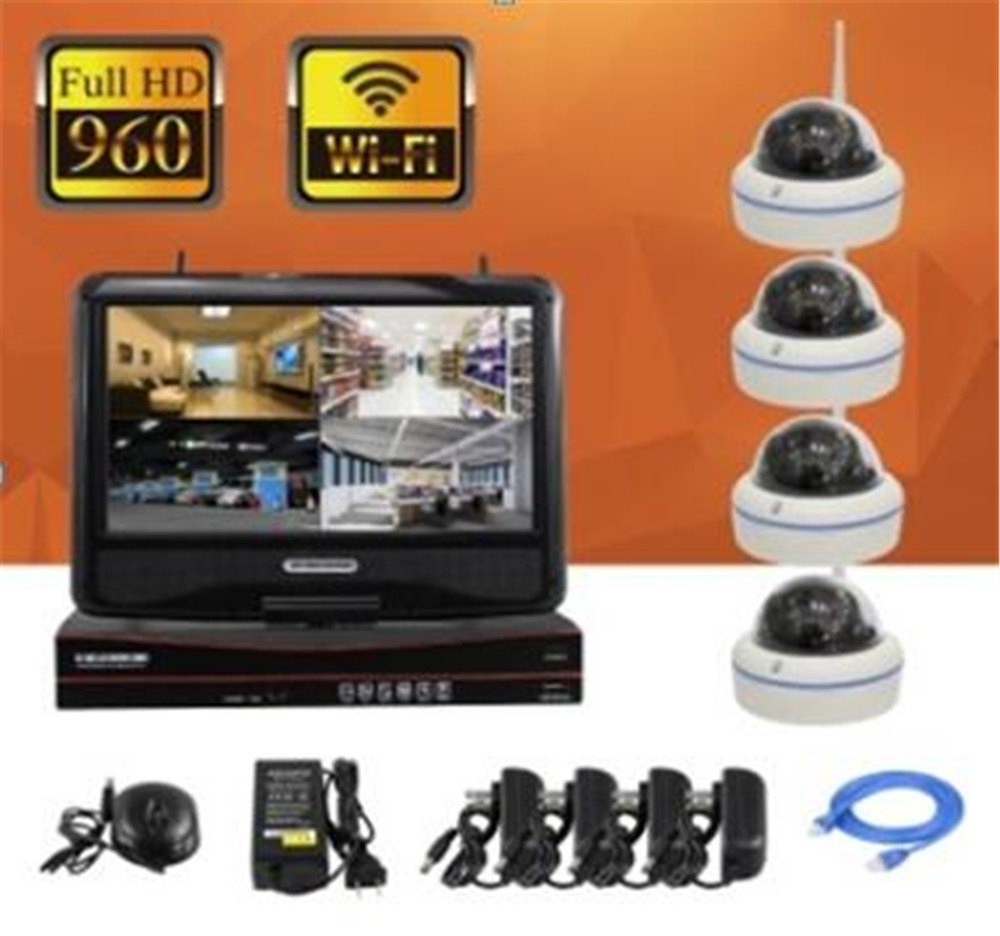 10 Inch Monitor 4CH IPC 960P Wireless IP Dome Camera NVR Kit amt9518 10 4 inch
