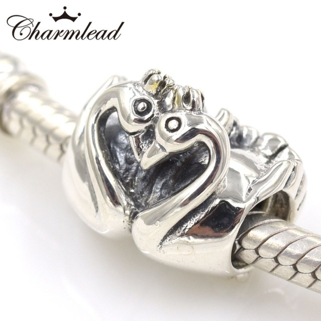 6713afc01 Charmlead Authentic 925 Sterling Silver Embrace Swan Charm Bead DIY Fit Pandora  Charms Bracelet Making Women