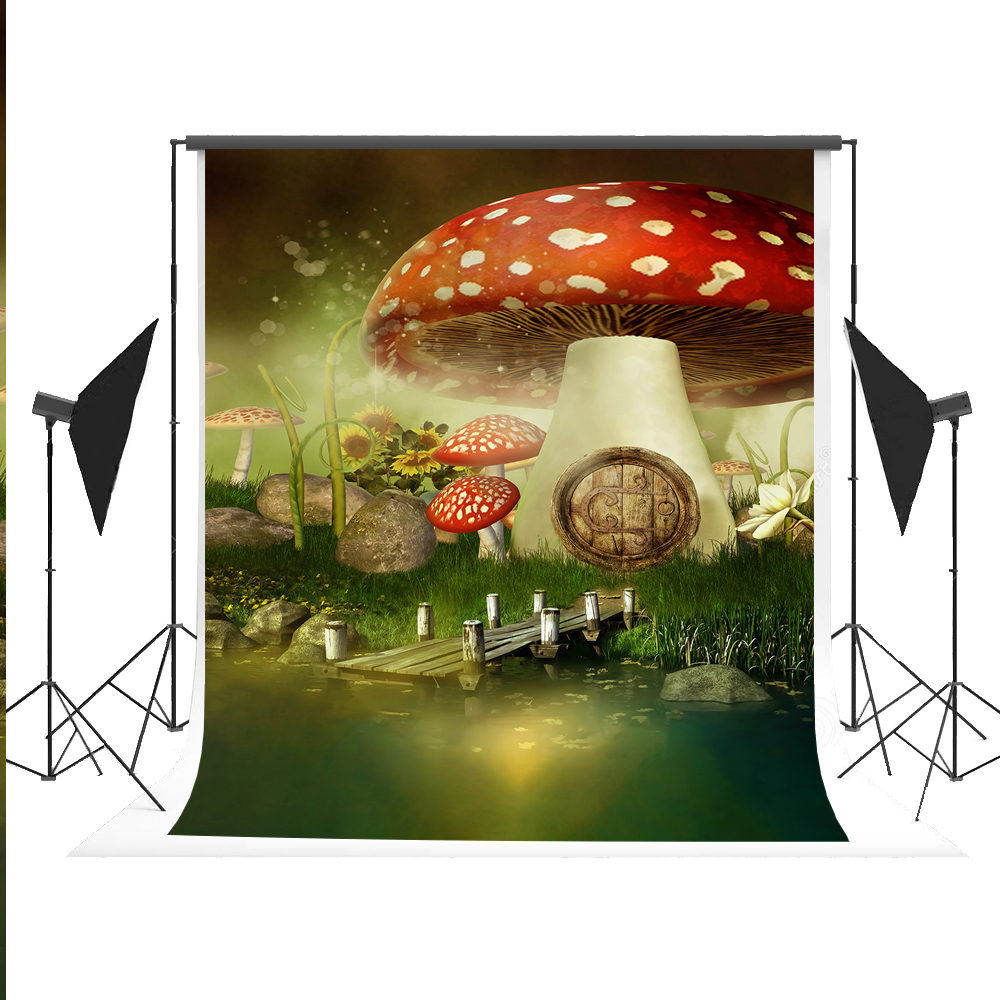 Kate Cartoon Backdrop Fairy Tale Forest Photography Background Seamless Mushroom Fundo for Kids Party Fond Studio Photos 5x7ft