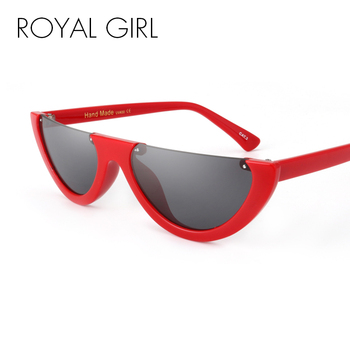 ROYAL GIRL อินเทรนด์ครึ่งกรอบ Rimless Flat Top แว่นตากันแดดผู้หญิง 2018 แฟชั่น Clear แว่นตายี่ห้อ Designer สำหรับหญิง ss189