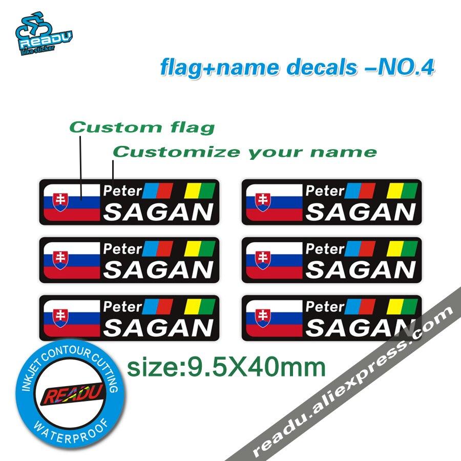 Tour du monde titer Peter Sagan style drapeau et nom autocollant vélo de route cadre signature stickers NO 4