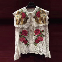 HIGH STREET Designer Stylish Blouse Tops Women's Long Sleeve Embroidery Lace Blouse Shirt