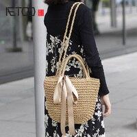 AETOO  2017  Summer new Japanese simple wild shoulder oblique cross hand grass straw bag beach bag handbag