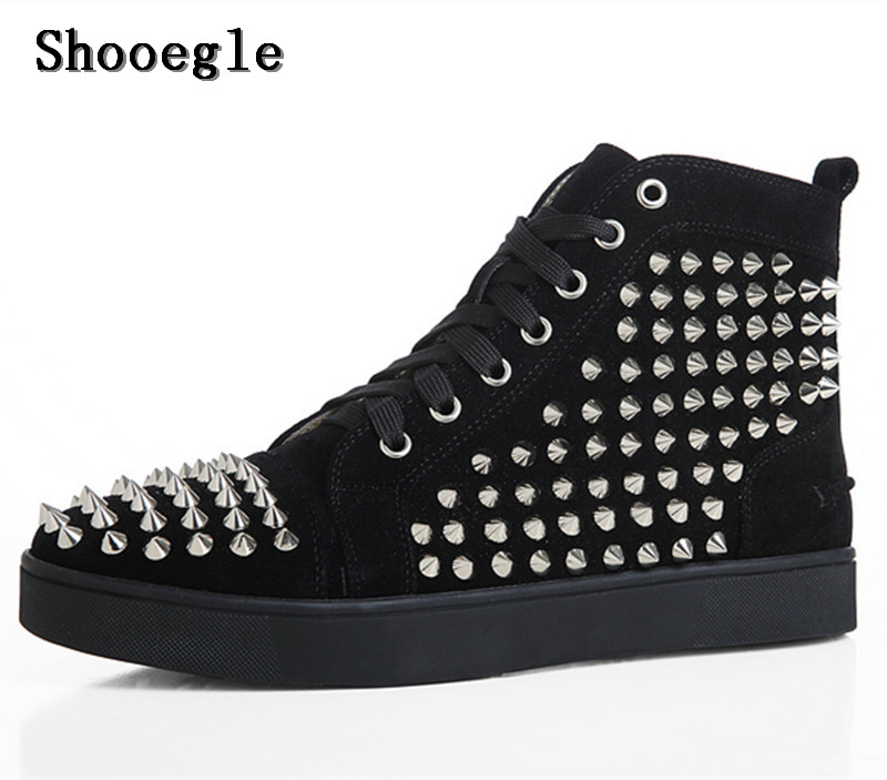 SHOOEGLE Fashion Chaussure Homme Men Suede Spike Stylish Sneakers High top Men Shoes Platform Rivets Red Blue Ankle Boots