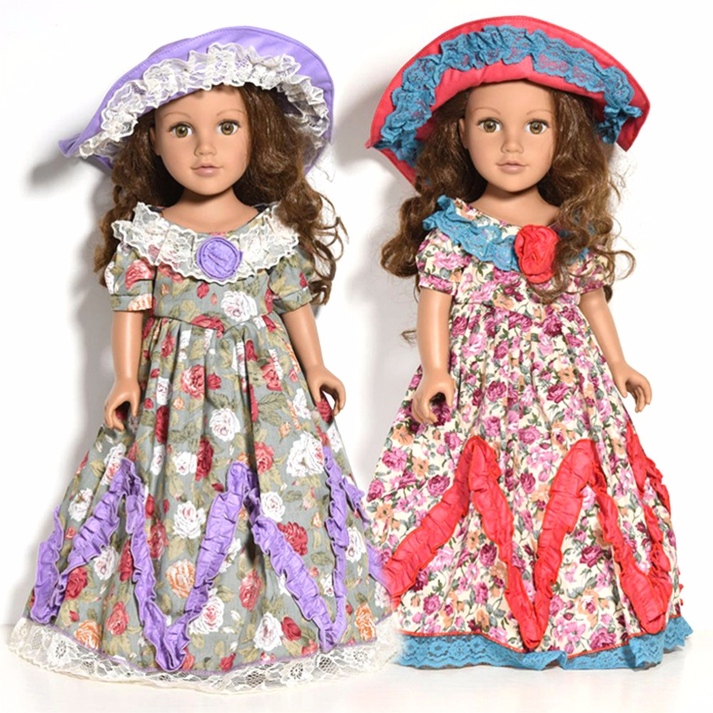 SUN & CLOUD Handmade 18 inches American Girl Doll Clothes Retro Floral Patterns Dress with hat
