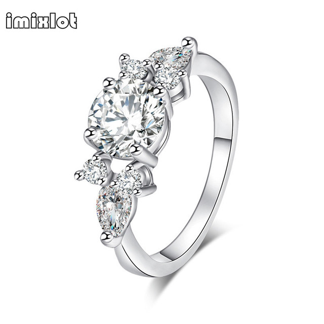 imixlot silver color crystal flower wedding rings for women jewelry bague bijoux rose gold color femme - Flower Wedding Rings