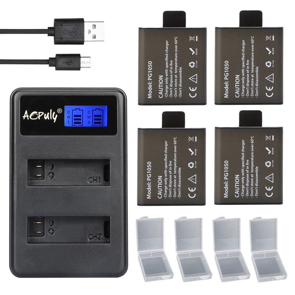 4 unids 1050 mAh recargable batería de la Cámara PG1050 + cargador doble para deportes Cámara de Acción SJCAM y EKEN H9 H9R H3 H3R H8PRO H8R H8