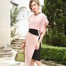 2019 neue Überlegene qualität Frauen Party Kleid Plus Größe damen Sexy Mode neuheit kleid Asymmetrische Ärmel Vintage kleider