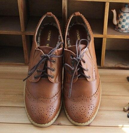 2013 Brand Vintage Brogues Genuine Oxfords Womens Flat Shoes Pu
