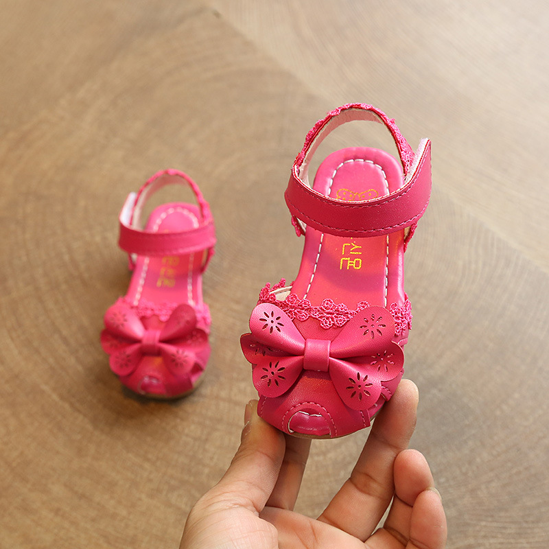 Summer Children Sandals For Girls Baby Shoes Kids Fashion Soft Bottom Lace Sandals Girl Princess Shoes With Bow Cut-Out Sandals