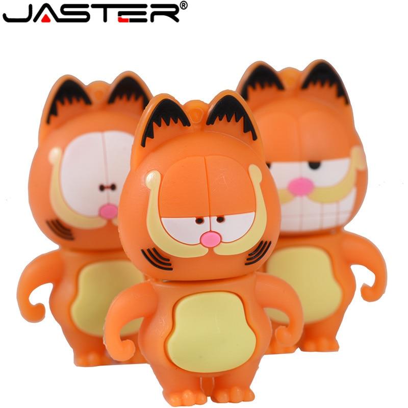 JASTER Cartoon Mini Garfield Cat USB 2.0 Flash Drive 4GB 16GB 32GB 64GB Portable Key USBMemory Stick Pendrive External Storage