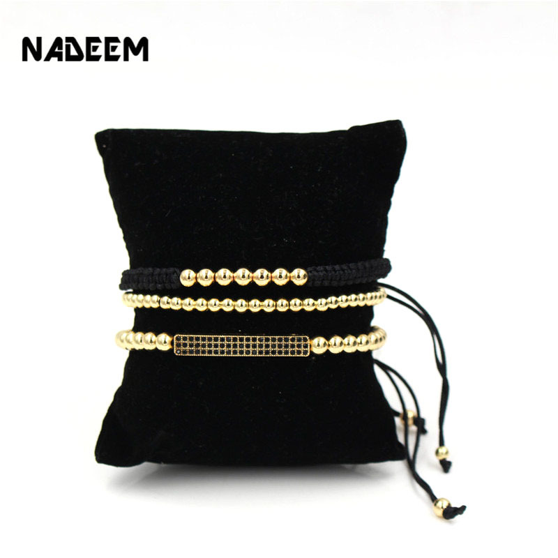 NADEEM Anil Arjandas Brand 3Pcs/Sets Men's Pave Setting Black CZ Bar Bracelet With 5mm Copper Bead Braiding Macrame Bracelet Set