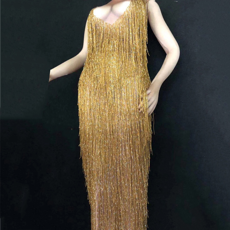 Gold Long Dress Women Prom Party Clothes Sparkly Crystals Skinny Sleeveless Dresses Nightclub Bar Female Singer Stage Wear DT350