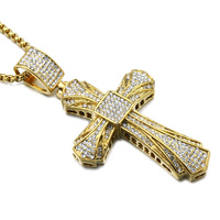 Hip Hop Gold Cross Pendant Necklace Full Micro Paving CZ Jesus Crucifix Stainless Steel Pendants Necklaces Men Jewelry
