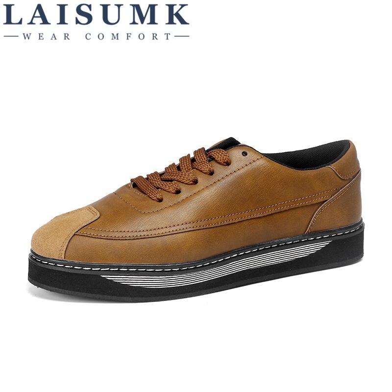 2019 LAISUMK Men Casual Shoes Fashion Simple Designer PU Leather Light Comfortable Flats