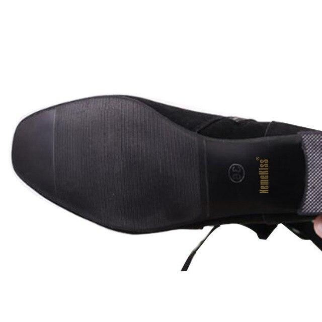 KemeKiss Women Mid Calf Boots Women Bowtie Zipper High Heel Boots Winter Warm Shoes Thick Heels Boots Woman Footwear Size 35-39