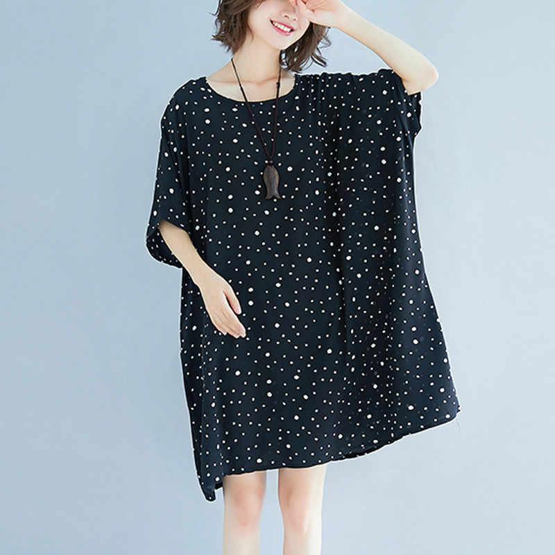 Размер Плюс большой размер 5XL женская шифоновая блузка леди футболки летняя свободная повседневная женская одежда в горошек Пляжное платье LP250