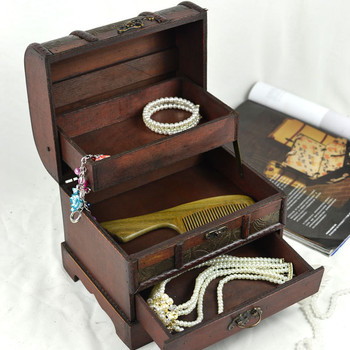 Vintage Retro Wooden Storage Box Jewelry