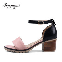 2017 Hot Summer Women Casual Sandals Buckle Ankle Strap Mixed Color High Square Thick Heels Platform