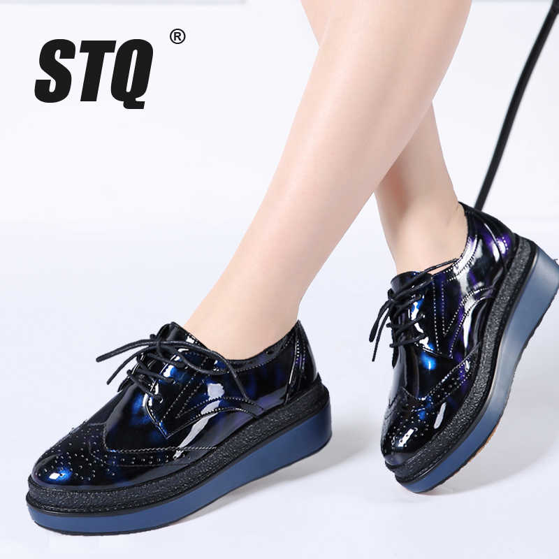 2f145e8846e5 STQ 2019 Spring women flat platform shoes Brogue Patent Leather lace up  flat oxfords shoes female