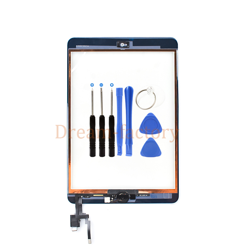 Touch Screen Digitizer For iPad Mini 3 A1599 A1600 A1601 includes Home Button and IC Chip +Tools 5pcs for ipad mini 3 mini3 3rd gen 7 9 a1599 a1560 touch screen digitizer ic chip connector