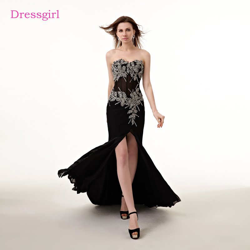 New Design Black Sweetheart Lace Up Crystal Embroidery: Black Evening Dresses 2019 Mermaid Sweetheart Chiffon