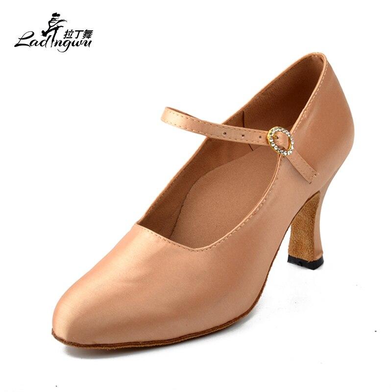 Ladingwu Free Shipping White/Apricot Latin Dance Shoes Women Satin Collocation Rhinestone Buckle Closed Toe Ballroom Dance Shoes