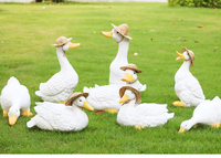 Rustic artificial animal sculpture resin ducks craft decoration outdoor decoration 8pcs/lot garden decor home craft