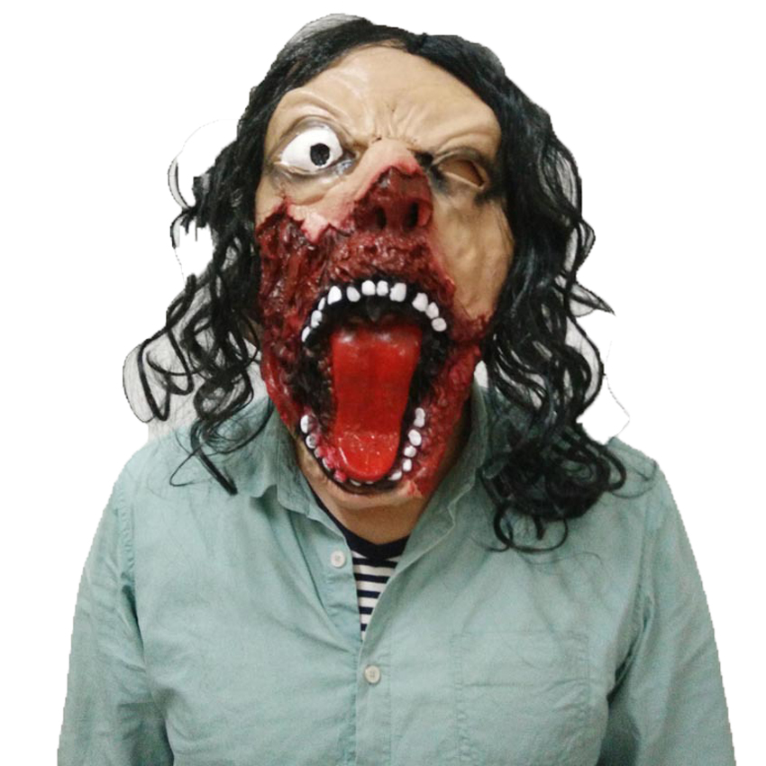 Halloween Horror Mask Latex Mask With Hair Vinyl Eyed Mask Masquerade Supplies Shout Expression Costume Mask