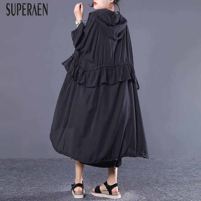 SuperAen Summer New 2019 Korean Style   Trench   Coat for Women Loose Pluz Size Solid Color Hooded Drawstring Sunscreen Clothing
