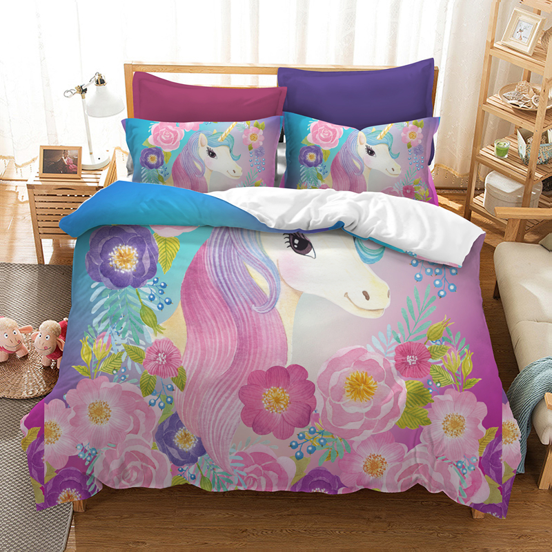 Yi chu xin 3d unicorn bedding set queen size Cartoon kids ...